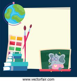Back to school elephant cartoon on board and icons vector design