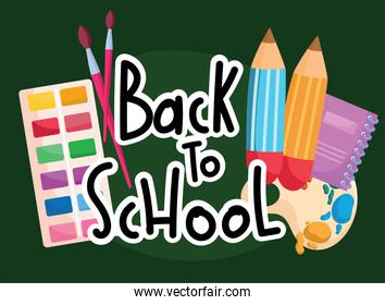 Back to school paint palette and pencils vector design