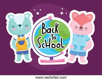 Back to school squirrel bear and world sphere vector design