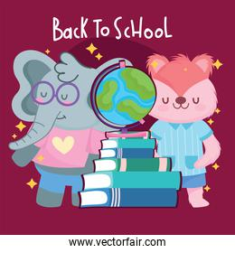 Back to school squirrel elephant and books vector design