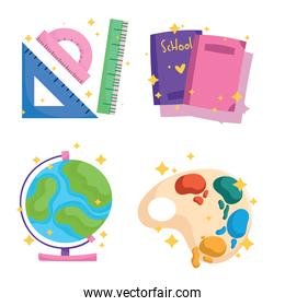 back to school icons set watercolor palette books ruler globe map