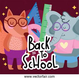 back to school cute elephant squirrel with glasses and ruler cartoon