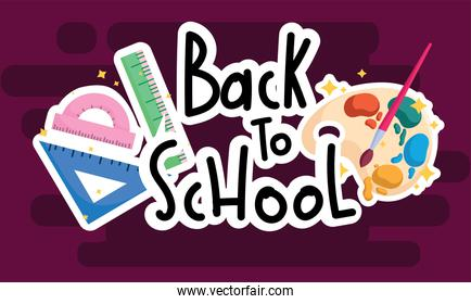 back to school hand drawn text with watercolor palette and ruler
