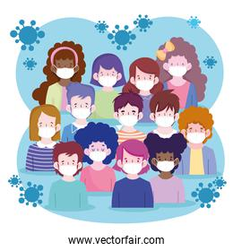 New normal women and men cartoons with masks vector design