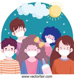 New normal people cartoons with masks sun and cloud vector design