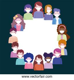 New normal people cartoons with masks circle vector design