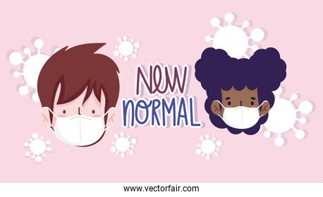 New normal woman and man with masks vector design