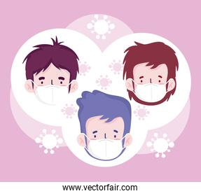 New normal boys cartoons with masks vector design