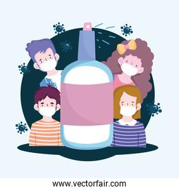 New normal people cartoons with masks and spray bottle vector design