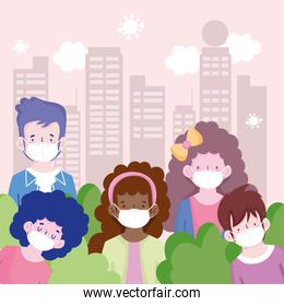 New normal people cartoons with masks and city buildings vector design