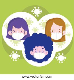 New normal girls cartoons with masks vector design