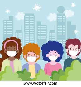 New normal people cartoons with masks at cityscape vector design