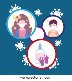 New normal woman and man with masks gloves and alcohol sprays vector design