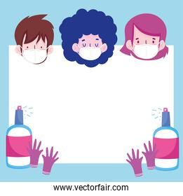 New normal people cartoons with masks sprays and gloves vector design