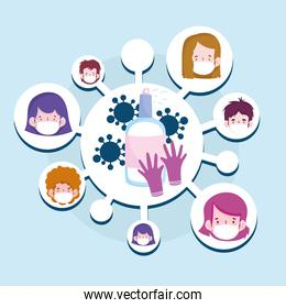 New normal sanitizer spray gloves and people cartoons with masks vector design