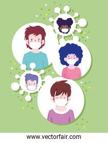 New normal boys and girls cartoons with masks vector design