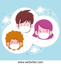 New normal men and woman cartoons with masks vector design