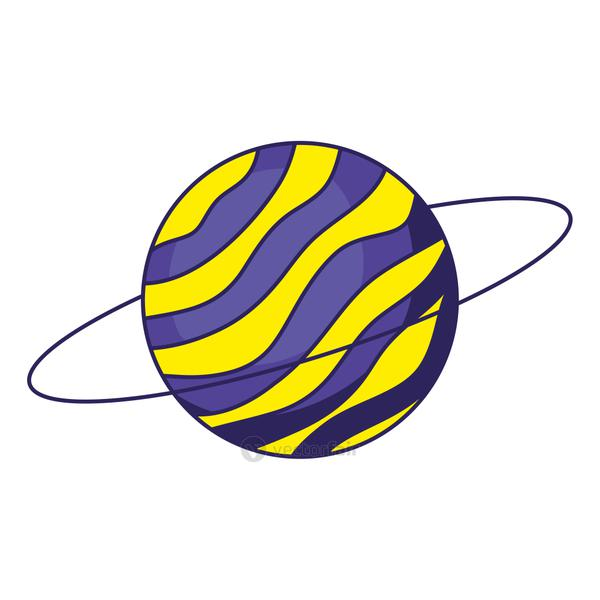 colored planet saturn on white background