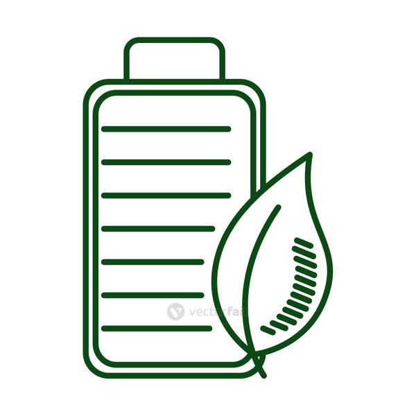 leaf plant with battery ecology line icon