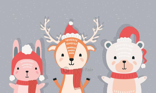 rabbit with reindeer and polar bear wearing christmas clothes characters