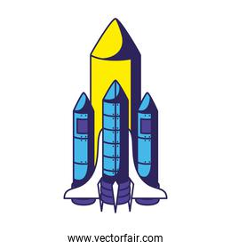 colored rocket icon over a white background
