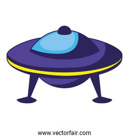 ufo of blue color on white background