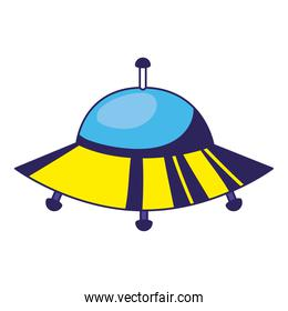 ufo of yellow color on a white background