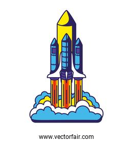colored spaceship launch icon in a white background