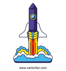 colored spaceship launch icon with a white background