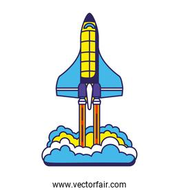 colored rocket launch icon with a white background