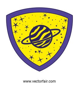 badge with saturn in it over a white background