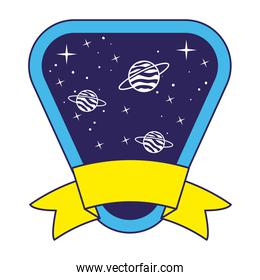 patch with saturn on it over a white background