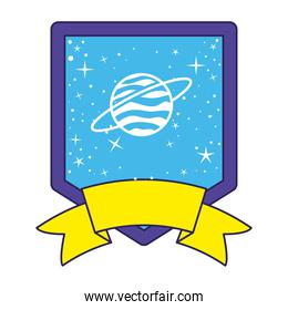 patch with saturn on it in a white background