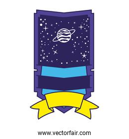 patch with saturn in it on a white background