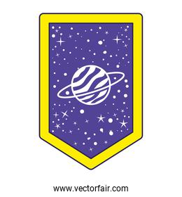 emblem with saturn on it