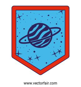 emblem with saturn on it over a white background