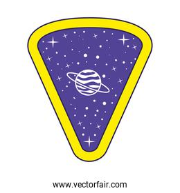 emblem with saturn in it on a white background
