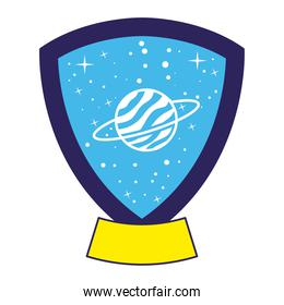 emblem with saturn in it over a white background