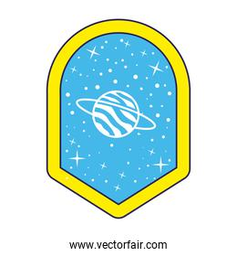 emblem with saturn and stars in it over a white background