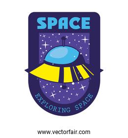 badge with one ufo in it and space exploring space lettering