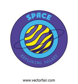 badge with saturn in it and space exploring galaxy lettering
