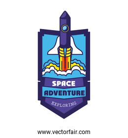 badge with one rocket in it and space adventure exploring lettering
