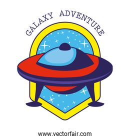 badge with one ufo in it and galaxy adventure lettering