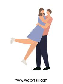 romantic couple hugging and lifting the girl