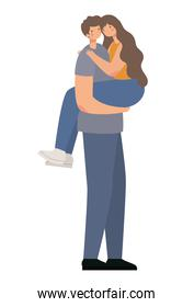 romantic couple hugging and lifting the girl on a white backgorund