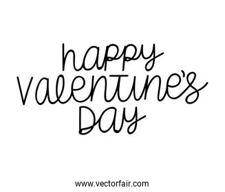 happy valentines day lettering over a white background