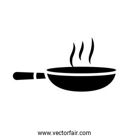 kitchen elements design, hot frying pan icon, silhouette style