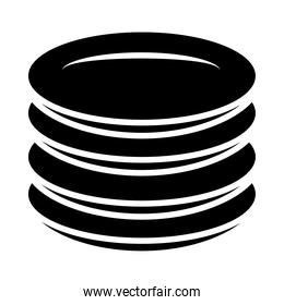 stack of dishes icon, silhouette style