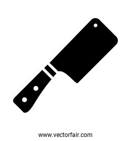 kitchen elements design, cleaver knife icon, silhouette style