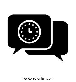 speech bubbles with clock icon, silhouette style
